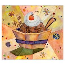 Ice Cream, Cherry Top Poster