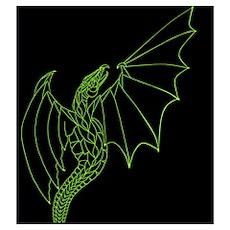 Green Dragon on Black Poster
