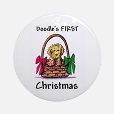 DOODLE'S FIRST CHRISTMAS Dog Ornament (Round)