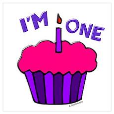 """I'm 1"" Purple & Pink Cupcake Poster"