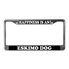Happiness Is An Eskimo Dog License Plate Frame