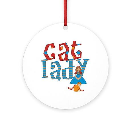 Cat Lady Ornament (Round)