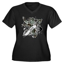 Clark Tartan Women's Plus Size V-Neck Dark T-Shirt