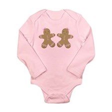 Twin Girls Holiday Gingerbread Long Sleeve Infant