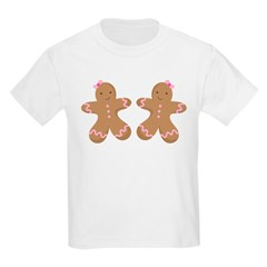 Twin Girls Holiday Gingerbread Kids Light T-Shirt