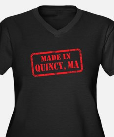 MADE IN QUINCY, MA Women's Plus Size V-Neck Dark T