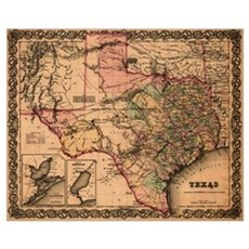 Antique Map of Texas Poster