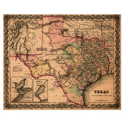 Antique Map of Texas Canvas Art