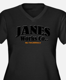 JANES Works Co. Women's Plus Size V-Neck Dark T-Sh