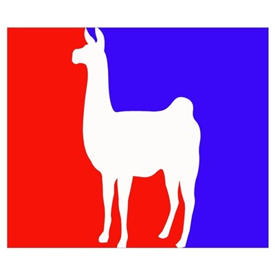 red and blue llama Poster