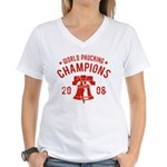 World Phucking Champions 2008 Women's V-Neck T-Shi
