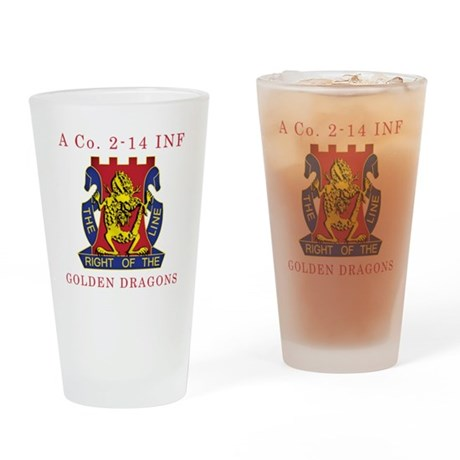 A Co 2-14 INF - Golden Dragon Drinking Glass