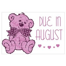 Pink Marble Teddy Due August Poster