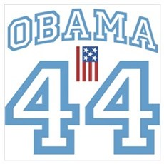 OBAMA 44 with Flag Poster