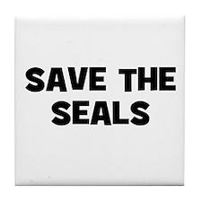 Save The Seals Tile Coaster