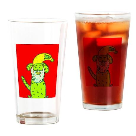 Santa Dog not Frog Christmas Pint Drinking Glass