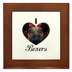 I HEART BOXERS Framed Tile