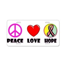 Peace Love Hope Aluminum License Plate