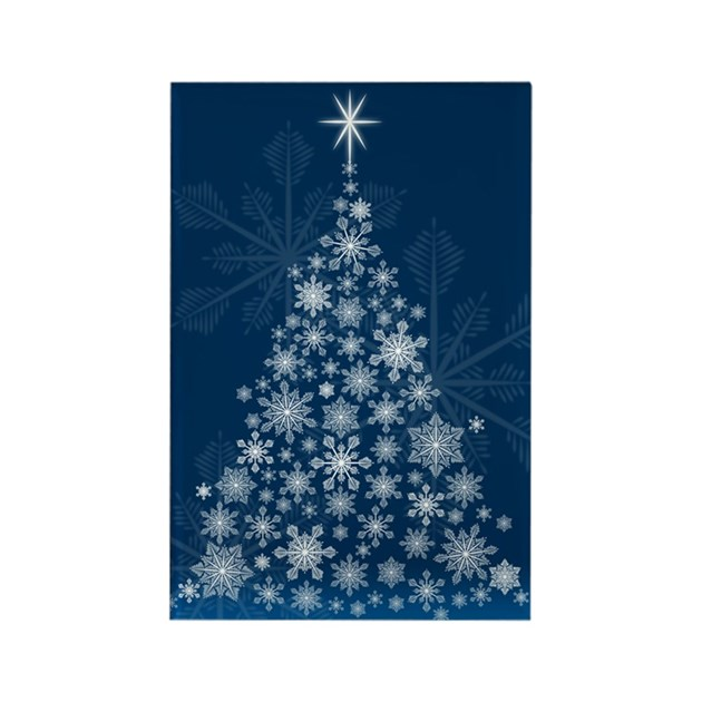 Snowflake christmas tree rectangle magnet by christmascards