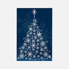 Snowflake Christmas Tree Rectangle Magnet
