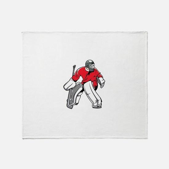 Cute Hockey goalie Throw Blanket