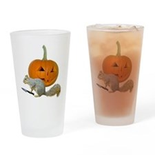 Squirrel Carving Pumpkin Drinking Glass