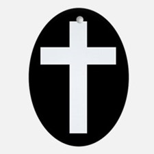 White Cross Ornament (Oval)