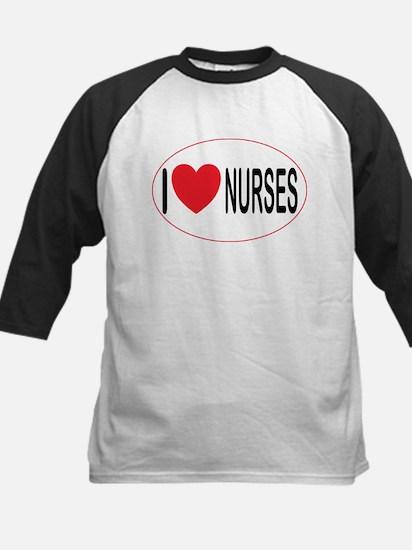 I Love Nurses Kids Baseball Jersey
