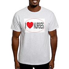 I Love Nurses Ash Grey T-Shirt