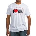 I Love Nurses Fitted T-Shirt