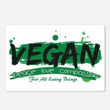 Vegan Peace Love Compassi Postcards (Package of 8)