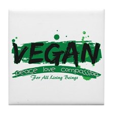 Vegan Peace Love Compassion Tile Coaster