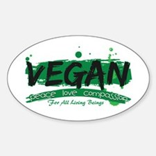 Vegan Peace Love Compassion Sticker (Oval)