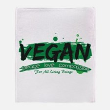 Vegan Peace Love Compassion Throw Blanket