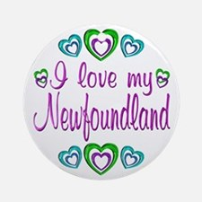 Love My Newfoundland Ornament (Round)