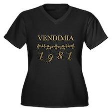 Vintage 1981 Women's Plus Size V-Neck Dark T-Shirt