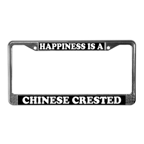 Happiness Is A Chinese Crested License Plate Frame