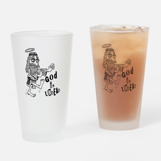 God is Undead v2 - Black and White Drinking Glass
