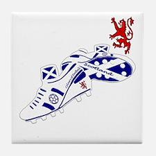 Scottish white football boots Tile Coaster