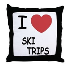 I heart ski trips Throw Pillow