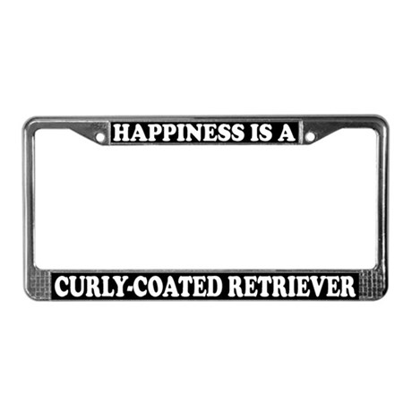 Happy Curly-Coated Retriever License Plate Frame