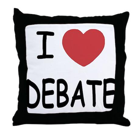 I heart debate Throw Pillow