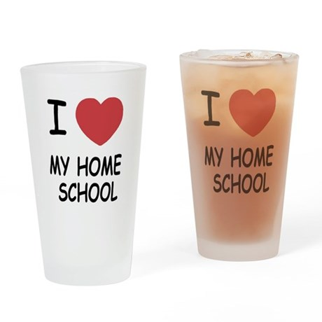 I heart my home school Drinking Glass