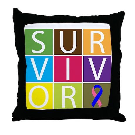 Male Breast Cancer Survivor Throw Pillow