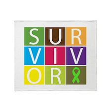 Lymphoma Survivor Tile Throw Blanket