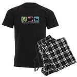 Peace, Love, Cairn Terriers Men's Dark Pajamas