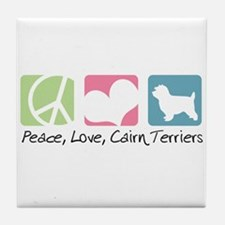 Peace, Love, Cairn Terriers Tile Coaster