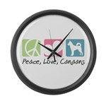 Peace, Love, Canaans Large Wall Clock