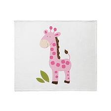 Cute Pink Giraffe Throw Blanket