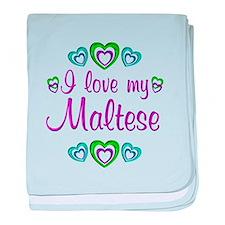 Love My Maltese baby blanket
